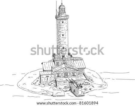 vector - Lighthouse Porer in Croatia isolated on background - stock vector