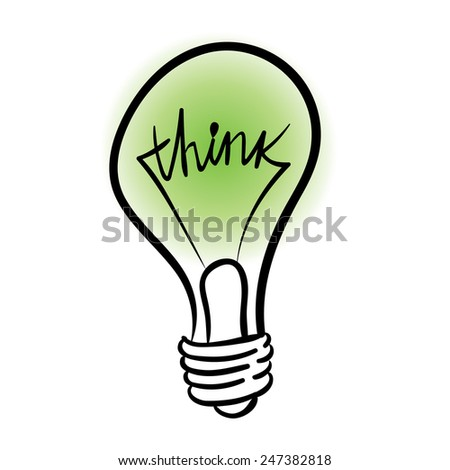 vector lighting bulb with THINK hand lettering - vector idea concept - stock vector