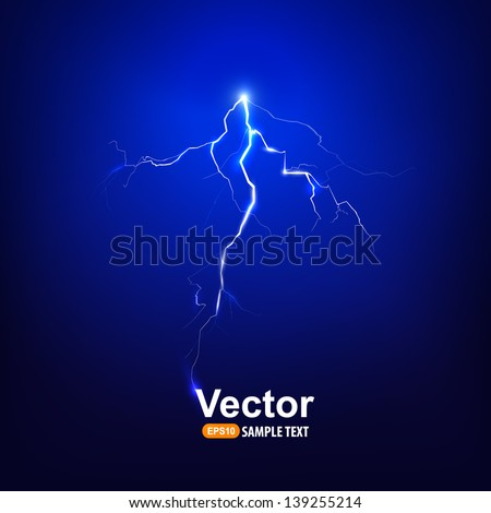 Vector lightning bolt at night. - stock vector