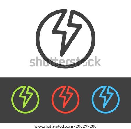 Vector lightning bolt icon set, line and flat design  - stock vector