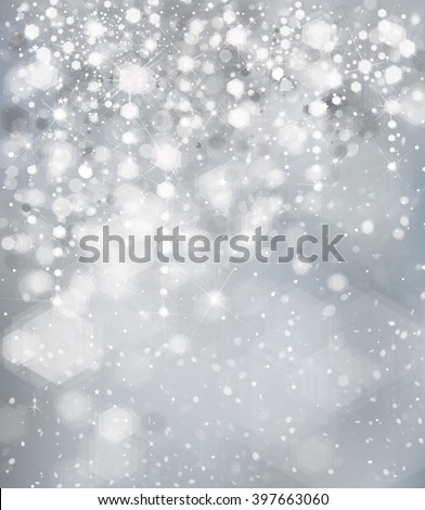 Vector lights  and stars on gray background. - stock vector