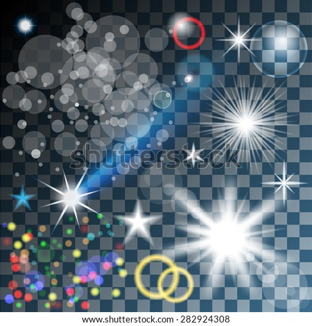 Vector Lights. Glowing stars, and sparkles on Transparent background. Illustration.