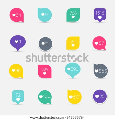 Vector Like Counter button icon set. Communication and network, web and internet, ribbons and labels design. Vector illustration - stock vector