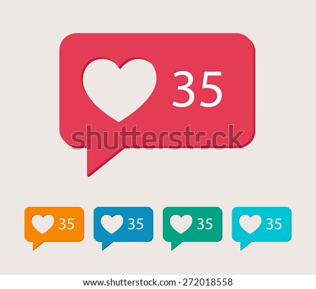 Vector like counter icons. 5 different colors. - stock vector