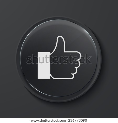 Vector like modern black glass circle icon. Eps10