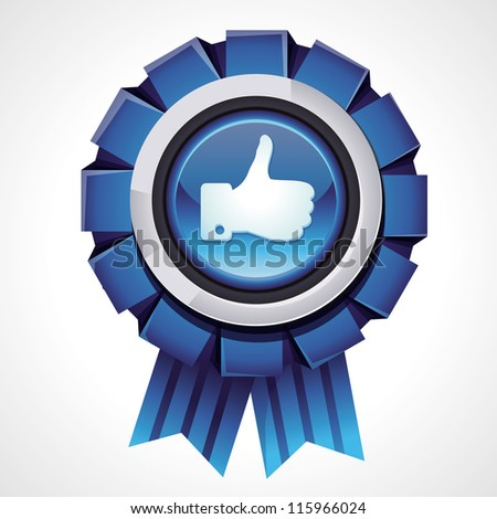 Vector like sign on glossy award icon - social media sign for follower - stock vector