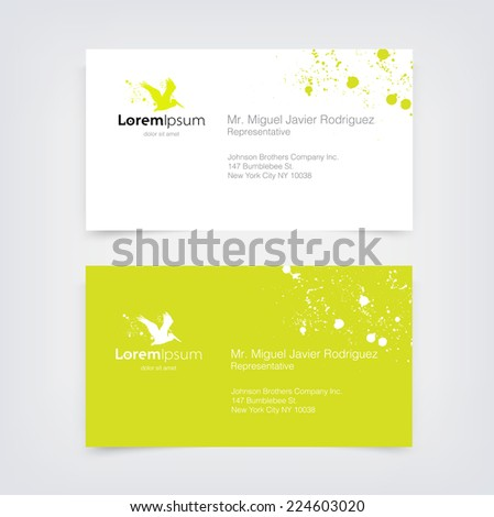 Vector lime green business card design stock vector 224603020 vector lime green business card design template with flying pelican silhouette logo and paint splatter reheart Choice Image