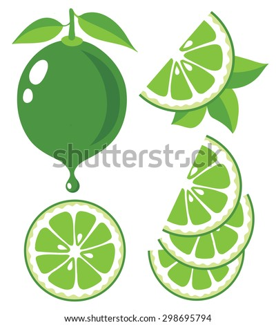 Vector limes. Lime slices and juice, collection of vector illustrations - stock vector