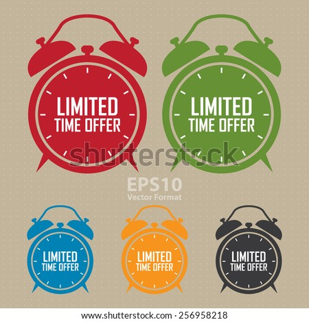 vector : limited time offer on alarm clock sticker, badge, icon, stamp, label, banner, sign - stock vector