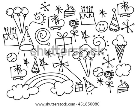 Vector line art Doodle cartoon set of objects and symbols  - stock vector