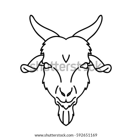 Vector Line Art Goat Face Farm Stock Vector 592651169 ... Goat Face Side Drawing