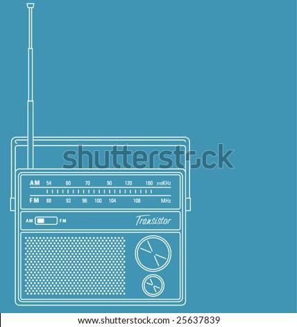 Vector line art illustration of a retro transistor radio, with copy space. - stock vector