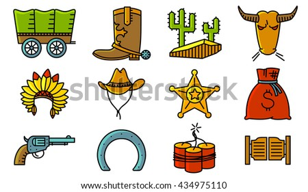 Vector line art minimalistic thin and simple cowboy and western  icons set - stock vector