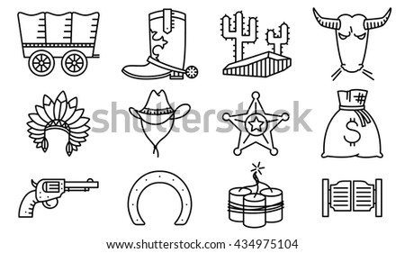 Vector line art minimalistic thin and simple retro cowboy and western  icons set. Collections with Hats Indians and cowboys, cactus, sheriff star, vintage pistol, dynamite,  bull, horseshoe and chaise