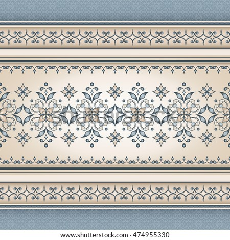 Vector line art seamless border for design template.  Element for design in Eastern style. Ornamental backdrop. Pattern fill. Ornate floral decor for wallpaper. Traditional decor