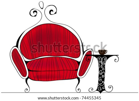 Vector line-art style illustration of cute and elegant retro armchair with table and coffee - stock vector