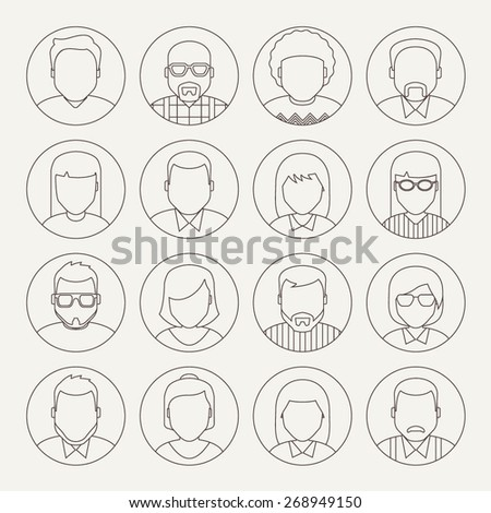 Vector Line Avatars - stock vector