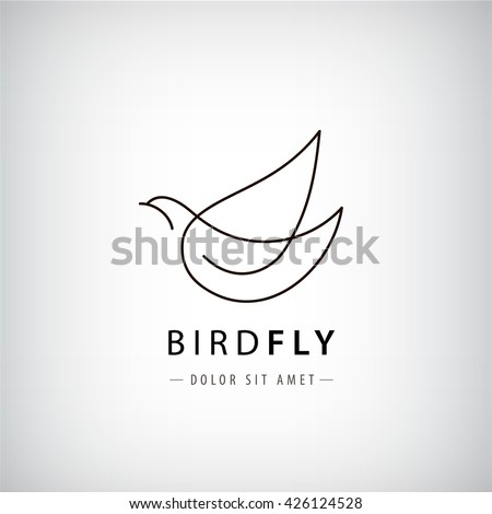 Vector line bird logo, pigeon silhouette, flying abstract logo, icon isolated.