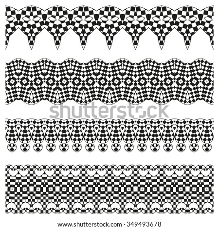 Vector line border set and scribble design element. Geometric fashion pattern. A set of decorative items to decorate your work. Vector design elements. Set of vector graphic elements for design.  - stock vector