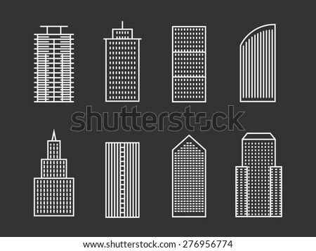 Vector line buildings set. Modern architecture style structure, skyscraper outline - stock vector