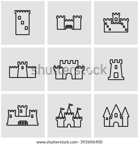 Vector line castle icon set.