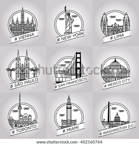 vector line city badge set collection vienna, new york, lima, sao paulo, san francisco, mexico city, toronto, miami, washington D.C. - stock vector
