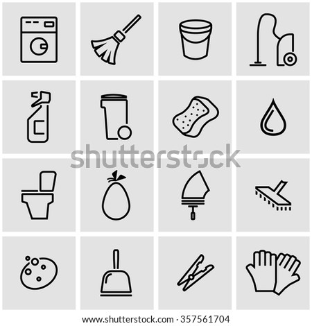 Vector line cleaning icon set.