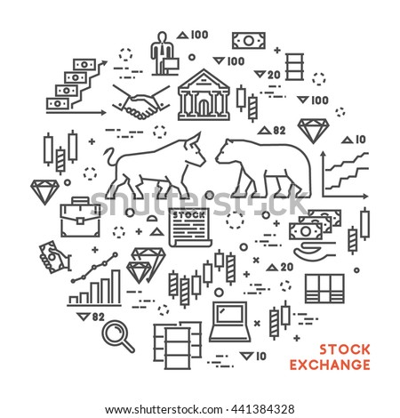 Vector line concept stock exchange. Linear symbol commodity exchange. Modern banner stock market. - stock vector