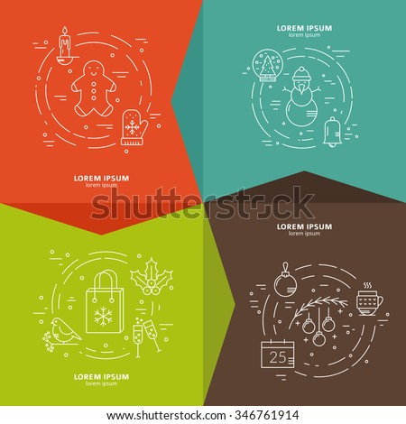 Vector line concept with different Christmas and new year objects. Clean and easy to edit. Modern line vector Christmas concept. Clean and easy to edit. Perfect illustration for banner or flyer.   - stock vector