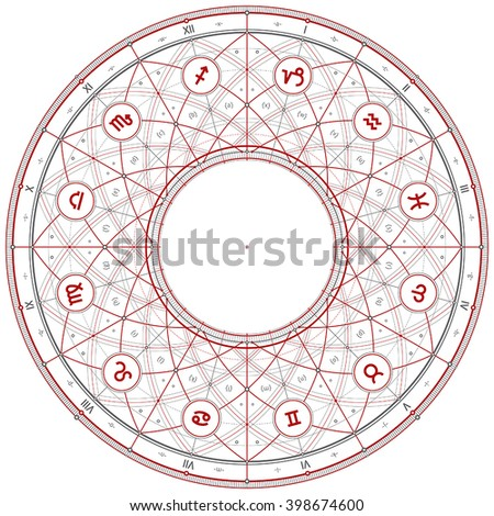 Vector line draft illustration with zodiac symbols. Can be easily colored and used in your design. - stock vector