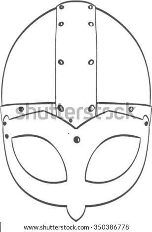 Vector line drawing of a viking helmet. Nords armor. - stock vector