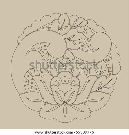 Vector line drawing patterns background . - stock vector