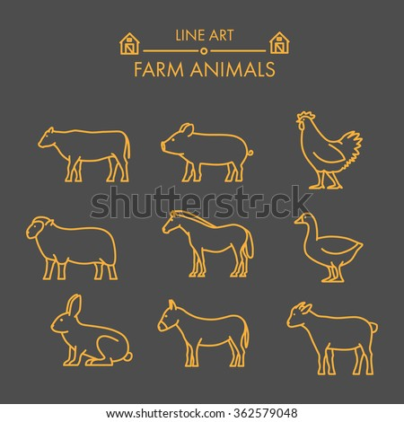 Vector line farm animals icon set. Linear figure cow, pig, chicken, horse, rabbit, goat, donkey and sheep - stock vector