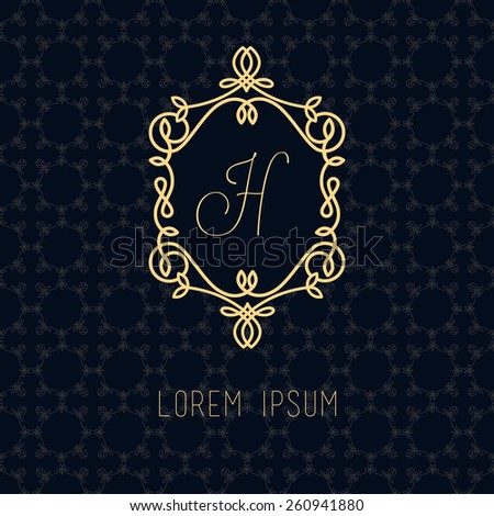 Vector line frame design elements for logos,ornament and decoration, emblem, logo, background, frames and borders in modern style, gold line color, floral for you logotype. - stock vector