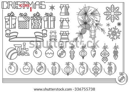 Vector line graphic. Set of christmas and new year icons
