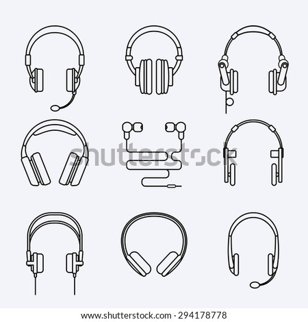 Vector line headphones icon set. Microphone and audio, speaker and sound, music and technology - stock vector