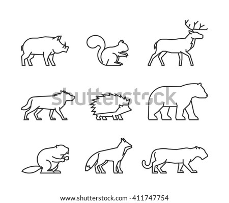 Vector line icon forest animals on white background.