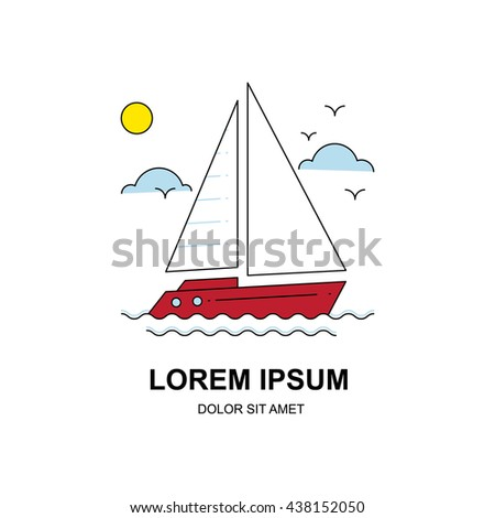 Vector line icon of a vintage sailboat, logo or label, design element for your project