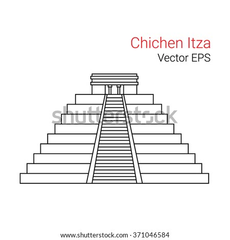 Vector Line Icon of Chichen Itza, Mexico.  Isolated on white background. - stock vector