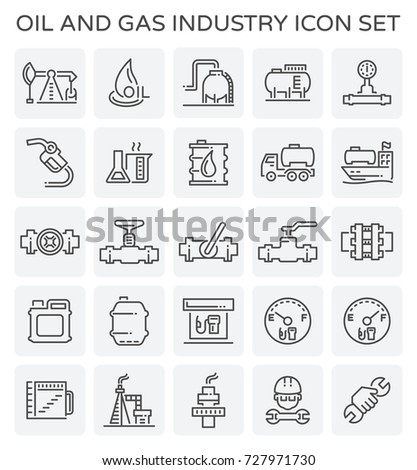 Vector line icon of oil and gas industry.