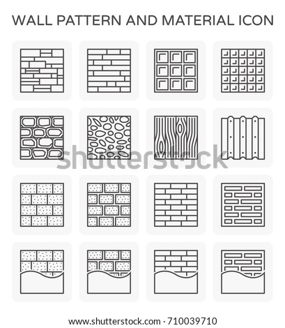 Vector line icon of wall pattern and material.