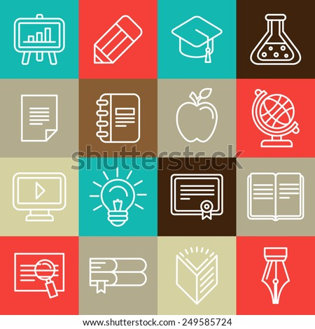 Vector line icons and signs - education and learning - outline design elements - stock vector
