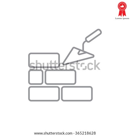 Vector line icons brickwork and building trowel - stock vector