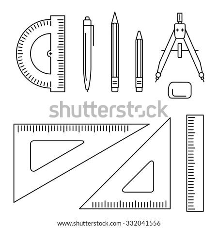 vector line icons drawing instrument thin stock vector