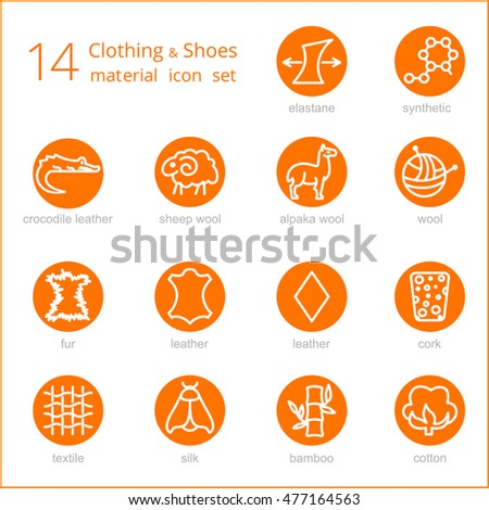 Vector Line Icons Fabric Feature Garments Stock Vector 477164563