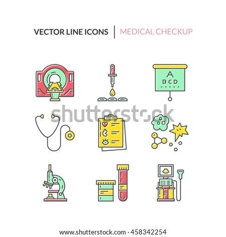 Vector line icons with medical symbols. Medical check-up and research. Line icons of MRI, scan, xray, blood testing and other medical diagnostic process. - stock vector