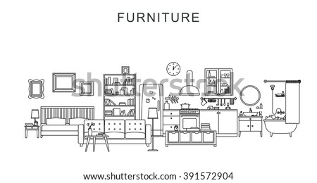 Vector line illustration of furniture and home decoration. - stock vector