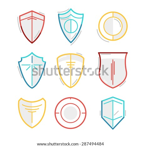 Vector Line Illustration of Shields