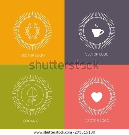 Vector line logos and icons. Line design elements for invitations and greeting cards. Vector emblems and badges. Abstract hipster logo templates - stock vector