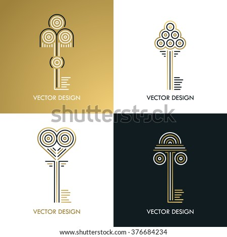 Vector line luxury key design isolated. Monogram symbol. Vintage icon. Elegant retro emblem. Gold and black. - stock vector